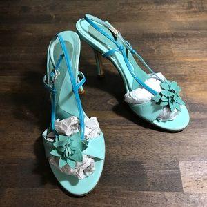 Kenneth Cole teal leather / suede sling back heels